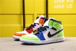 2020 Air Jordan 1 Melody Ehsani x Mid 'Fearless' White/Black/Half Blue/Habanero Red CQ7629-100 Shoes