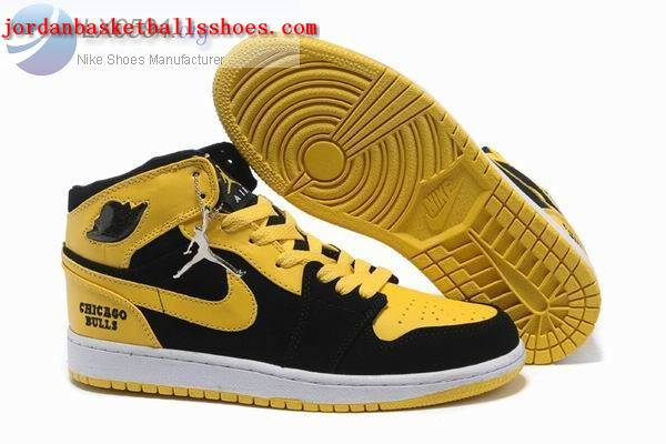 Sale Air Jordans 1 retro Chicago Bulls black yellow white Shoes On 1TOPJORDAN