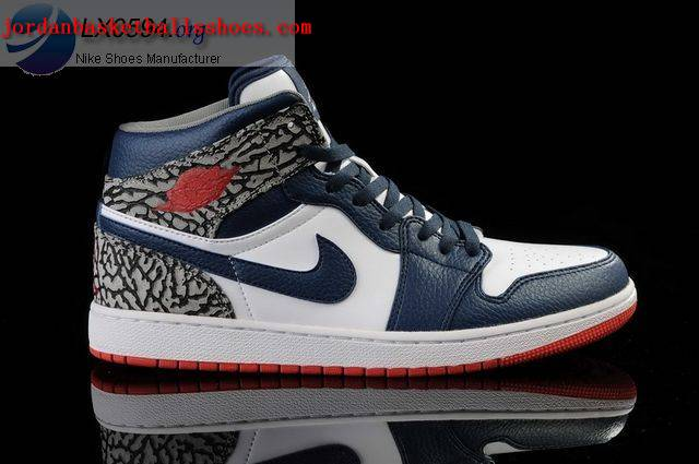 Sale Nike Air Jordans 1 retro White Dark Blue Shoes On 1TOPJORDAN