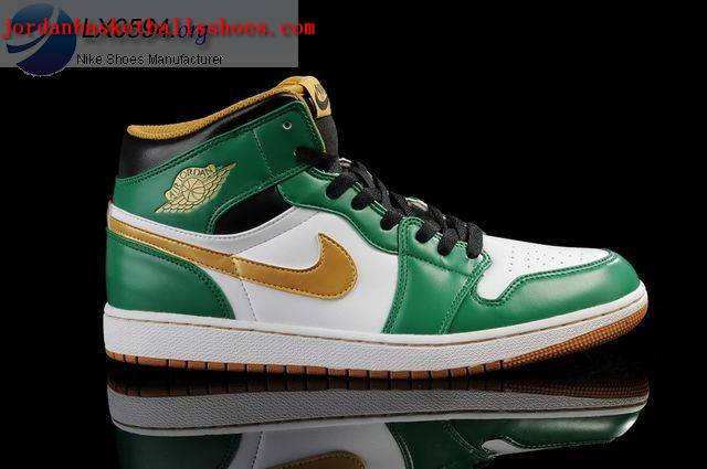 Sale Air Jordans 1 Retro White Green Gold Shoes On 1TOPJORDAN