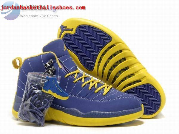 Sale Air Jordans 12 Retro blue yellow Shoes On 1TOPJORDAN
