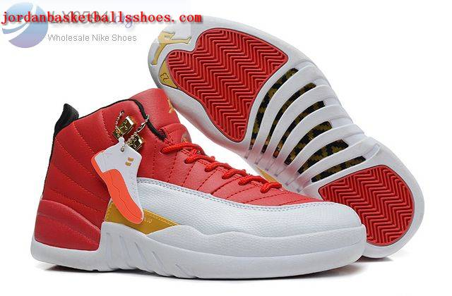 Sale Air Jordans 12 Women Red White Gold Shoes On 1TOPJORDAN