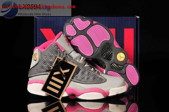 Sale Air Jordans 13 Women grey and pink Shoes On 1TOPJORDAN