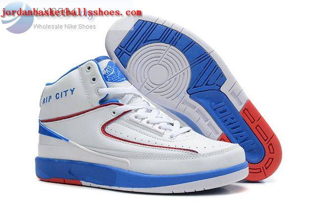 Sale Air Jordans 2 Retro White Blue Rip City Shoes On 1TOPJORDAN - Click Image to Close