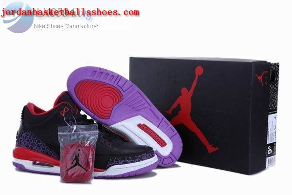 Sale Air Jordans 3 Retro black red purple Shoes On 1TOPJORDAN