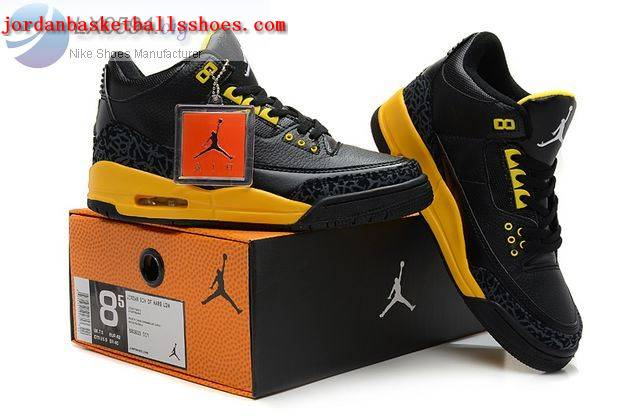 Sale Air Jordans 3 Retro black yellow Shoes On 1TOPJORDAN