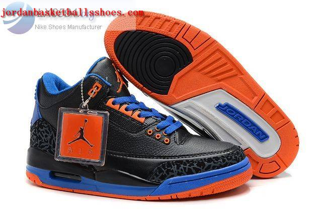 Sale Air Jordans 3 Retro black blue orange Shoes On 1TOPJORDAN