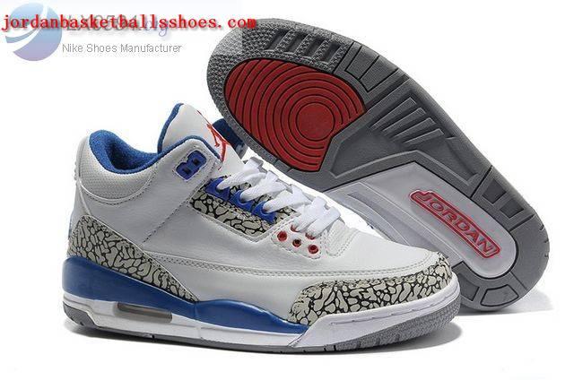 Sale Womens Air Jordans 3 cement white blue Shoes On 1TOPJORDAN