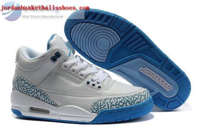 Sale Womens Air Jordans 3 Retro white blue Shoes On 1TOPJORDAN