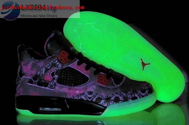 Sale Air Jordans 4 Galaxy Purple Glow in the Dark Shoes On 1TOPJORDAN