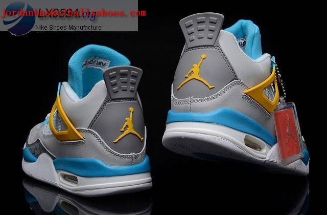 Sale Air Jordans 4 Retro grey blue yellow Shoes On 1TOPJORDAN