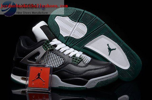 Sale Air Jordans 4 Retro black grey green Shoes On 1TOPJORDAN