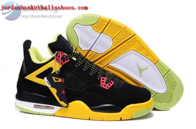 Sale Air Jordans 4 Retro black yellow Shoes On 1TOPJORDAN