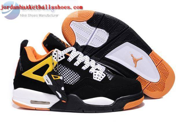 Sale Air Jordans 4 Retro black white yellow Shoes On 1TOPJORDAN