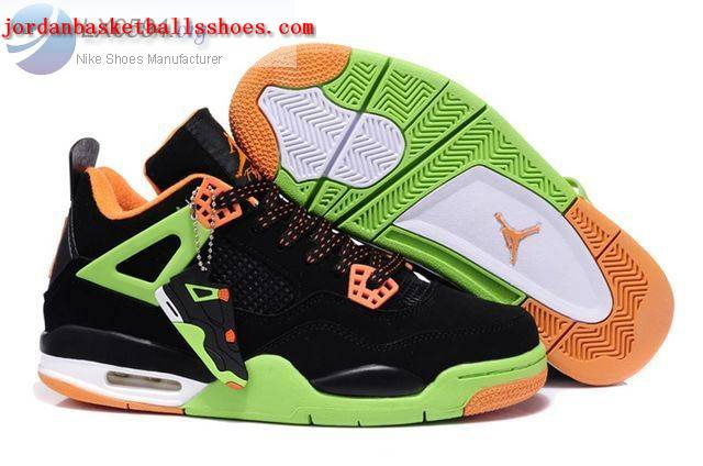 Sale Air Jordans 4 Retro black green orange Shoes On 1TOPJORDAN