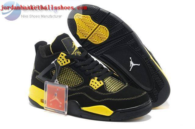 Sale Air Jordans 4 Retro black and yellow Shoes On 1TOPJORDAN