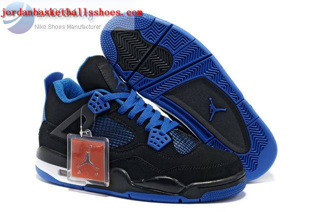 Sale Air Jordans 4 Retro black blue Shoes On 1TOPJORDAN