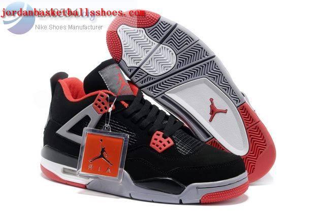 Sale Air Jordans 4 Retro black grey red Shoes On 1TOPJORDAN