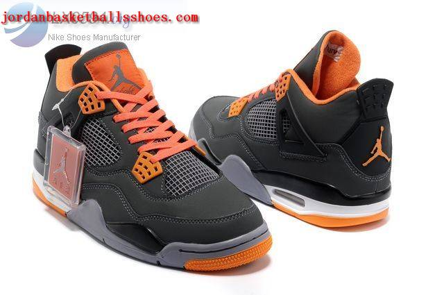 Sale Air Jordans 4 Retro grey orange Shoes On 1TOPJORDAN