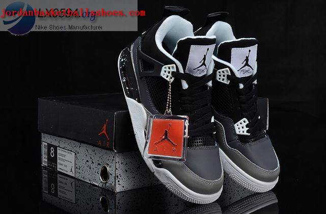 Sale Air Jordans 4 Retro black and grey Shoes On 1TOPJORDAN