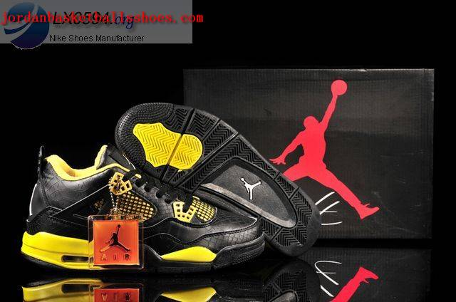 Sale Air Jordans 4 Retro black yellow Fish Scale Pattern Shoes On 1TOPJORDAN