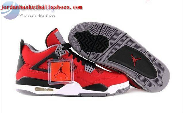 Sale Air Jordans 4 Retro red black grey Shoes On 1TOPJORDAN
