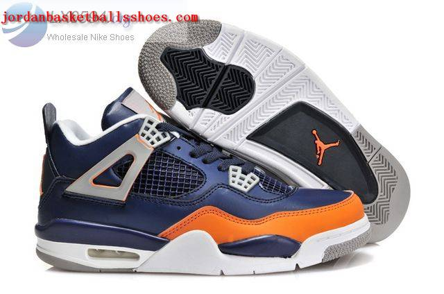 Sale Air Jordans 4 Retro dark blue orange Shoes On 1TOPJORDAN