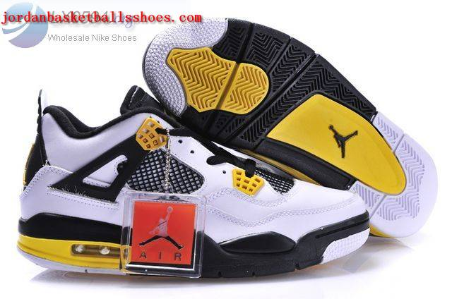 Sale Air Jordans 4 Retro white black yellow Shoes On 1TOPJORDAN