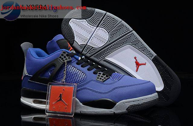 Sale Air Jordans 4 Retro black and blue Shoes On 1TOPJORDAN
