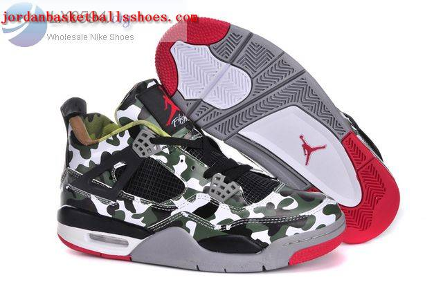Sale Air Jordans 4 Retro Camouflage Black Grey Shoes On 1TOPJORDAN