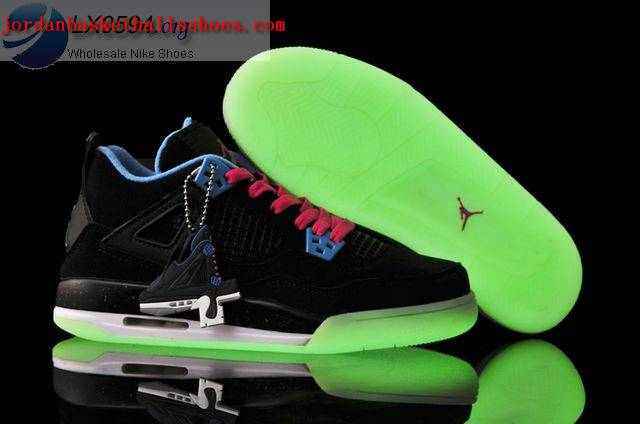 Sale Air Jordans 4 Women glow in the dark black Shoes On 1TOPJORDAN