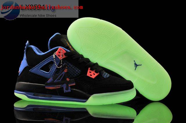 Sale Air Jordans 4 Women glow in the dark black blue Shoes On 1TOPJORDAN