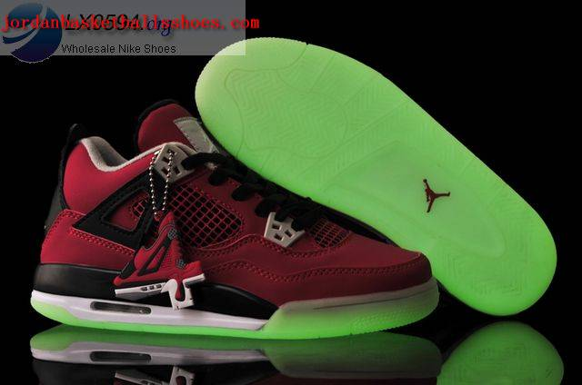Sale Air Jordans 4 Women red glow in the dark Shoes On 1TOPJORDAN