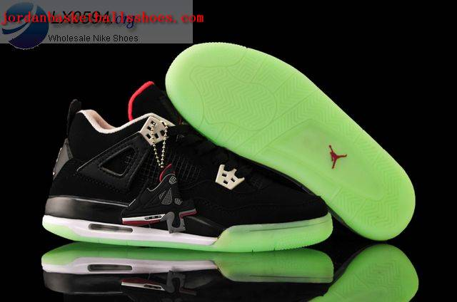 Sale Air Jordans 4 Women black glow in the dark Shoes On 1TOPJORDAN
