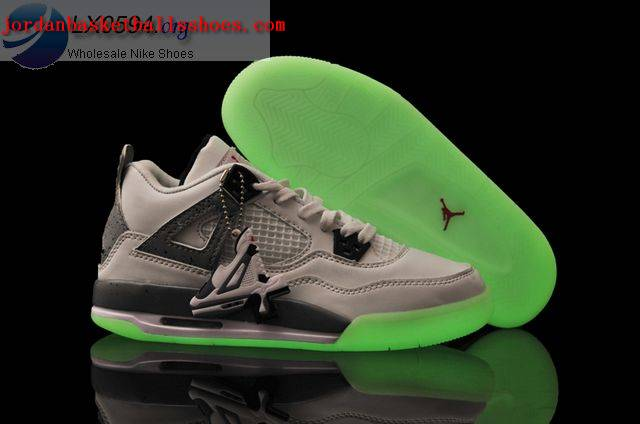 Sale Air Jordans 4 Women glow in the dark white grey Shoes On 1TOPJORDAN