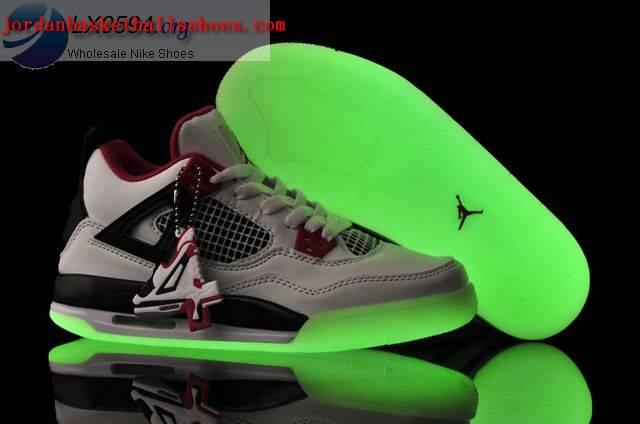 Sale Air Jordans 4 Women glow in the dark white black Shoes On 1TOPJORDAN