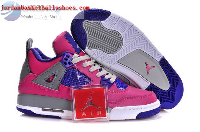 Sale Air Jordans 4 Women pink grey blue Shoes On 1TOPJORDAN
