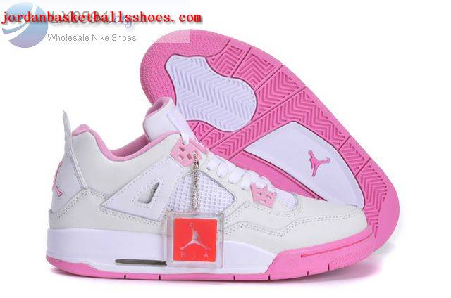 Sale Girls Air Jordans 4 White Pink Shoes On 1TOPJORDAN