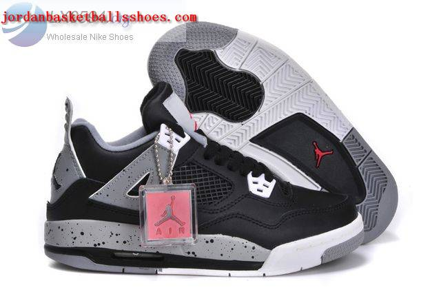 Sale Womens Air Jordans 4 GS Black Cement Shoes On 1TOPJORDAN