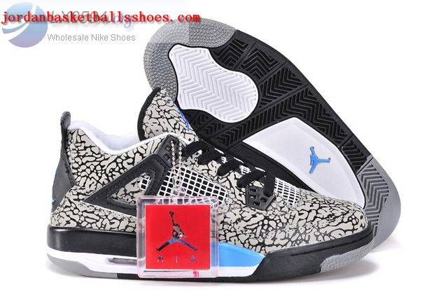Sale Air Jordans 4 Women Elephant Print Grey Blue Shoes On 1TOPJORDAN