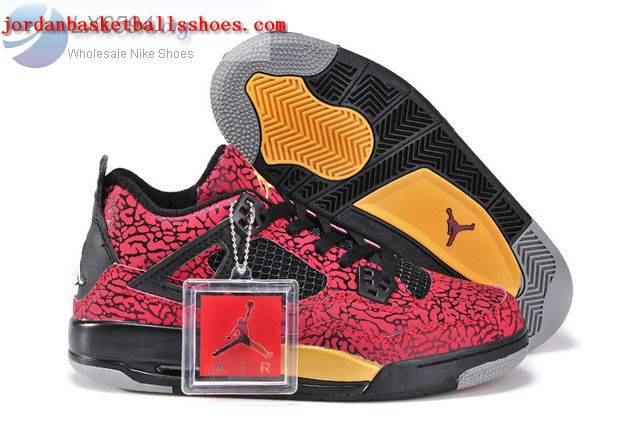 Sale Air Jordans 4 Women Elephant Print Red Black Gold Shoes On 1TOPJORDAN