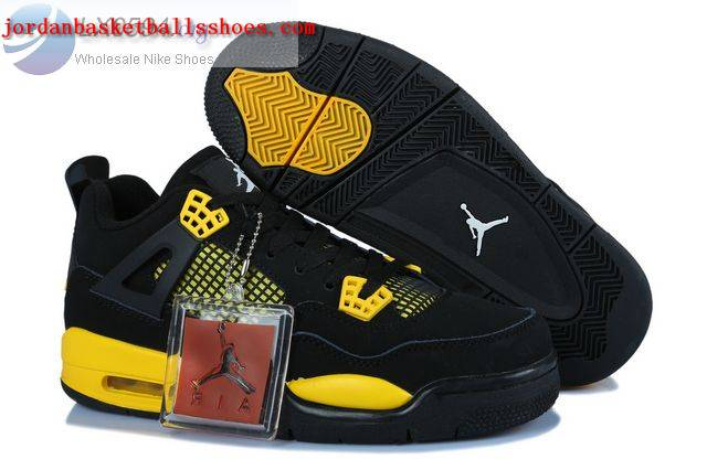 Sale Air Jordans 4 Women Thunder Black Yellow Shoes On 1TOPJORDAN