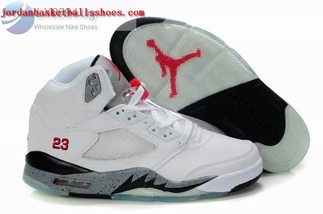 Sale Air Jordans 5 Retro white grey black Shoes On 1TOPJORDAN