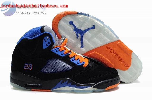 Sale Air Jordans 5 Retro black blue orange Shoes On 1TOPJORDAN