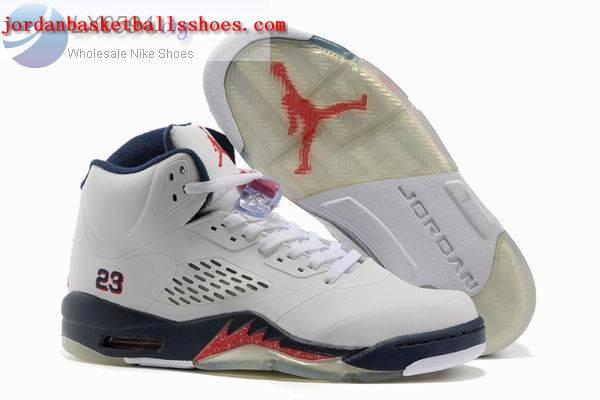 Sale Air Jordans 5 Retro white dark blue Shoes On 1TOPJORDAN