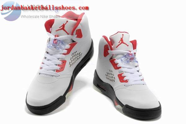Sale Air Jordans 5 Retro white black red Shoes On 1TOPJORDAN - Click Image to Close