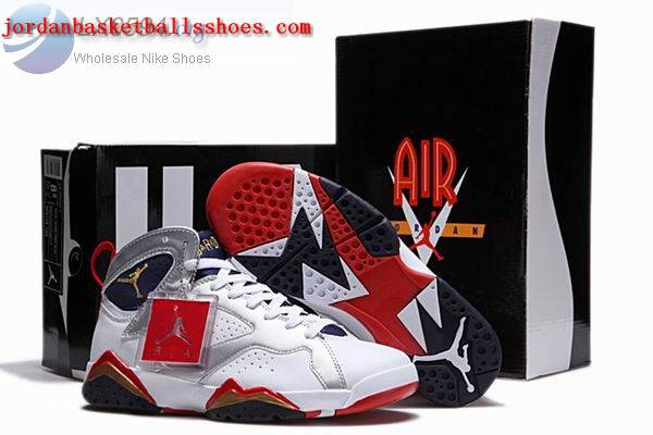 Sale Air Jordans 7 Retro white silver red Shoes On 1TOPJORDAN