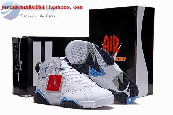 Sale Air Jordans 7 Retro White Blue Red Shoes On 1TOPJORDAN