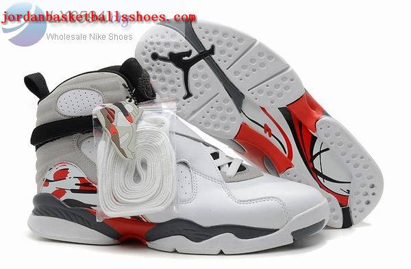 Sale Air Jordans 8 Retro white grey red Shoes On 1TOPJORDAN