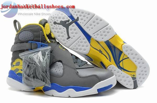 Sale Air Jordans 8 Retro grey blue yellow Shoes On 1TOPJORDAN